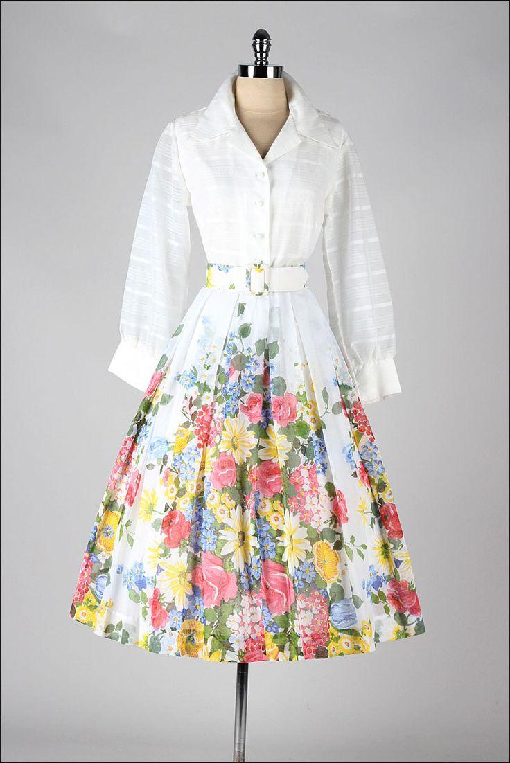 vintage 1950s dress . white cotton . floral by millstreetvintage