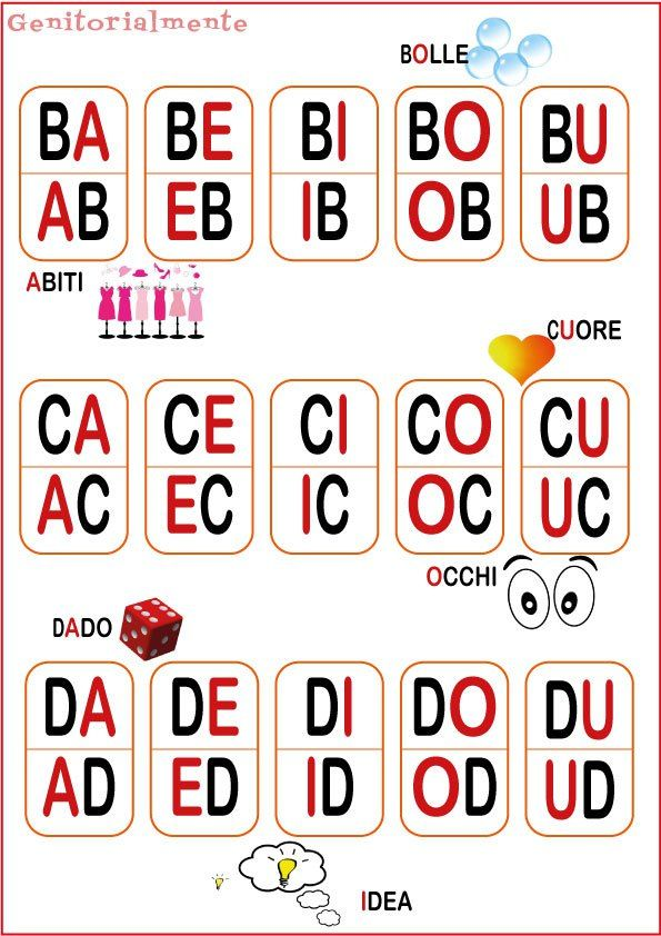 Gioco con le sillabe per imparare a leggere: Schede da ritagliare