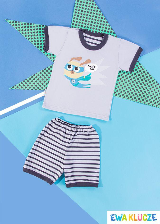 EWA KLUCZE, szara piżamka z krótkim rękawem COMICS, ubranka dla dzieci, EWA KLUCZE, COMICS pijamas, baby clothes, Детская одежда