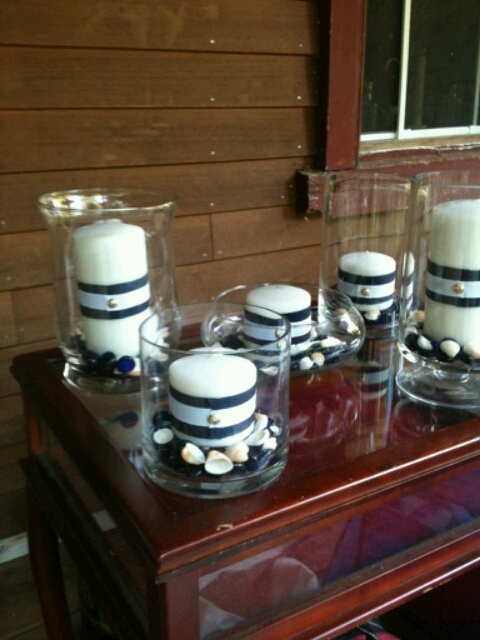 Navy blue and white centerpieces ---  use green instead of white candles