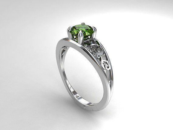 Peridot engagement ring, filigree, white gold, yellow gold, unique engagement, green, peridot engagement, wedding ring, vintage, gemstone