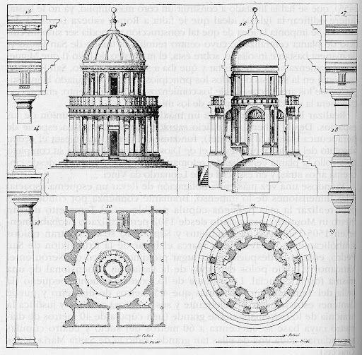 Donato Bramante, Tempietto di S. Pietro in Montorio, Roma. Alzato, sezione e pianta.