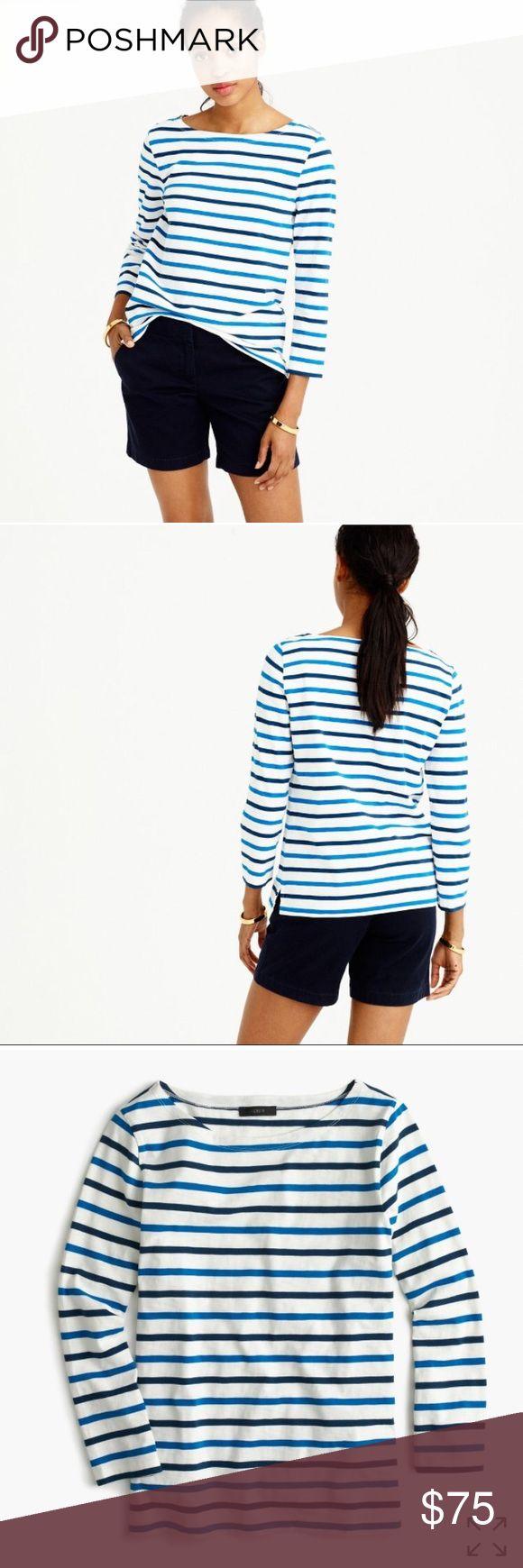 J CREW boatneck striped shirt NWT XXS Super cute striped boatneck J Crew shirt: NWT size XXS J. Crew Tops Tees - Long Sleeve