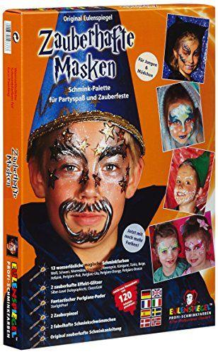Eulenspiegel 103333 - Schminkset Zauberhafte Masken, Schminkpalette mit Puder, Pinsel, 2 Schw�mmchen und Anleitung, 2 Glitzerfarben, 13 Farben