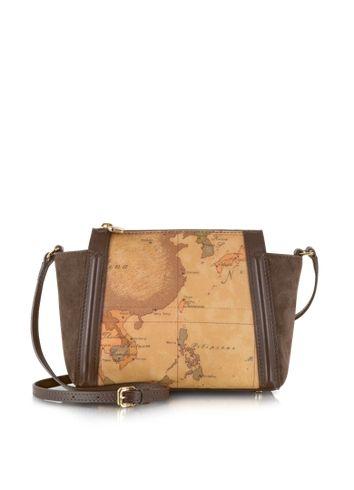 Alviero Martini 1A Classe Lady Geo Print Fabric, Dark Brown Suede and Leather Crossbody Bag