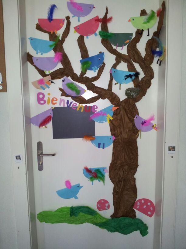 Voici la déco de la porte de ma classe.... le thème de cette année: la forêt et les oiseaux