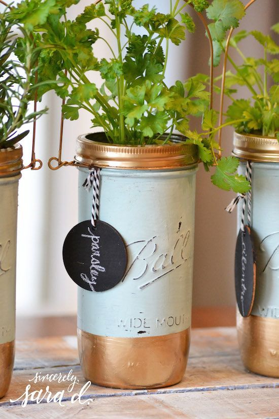 Painted & Distressed Mason Jar Herb Planters