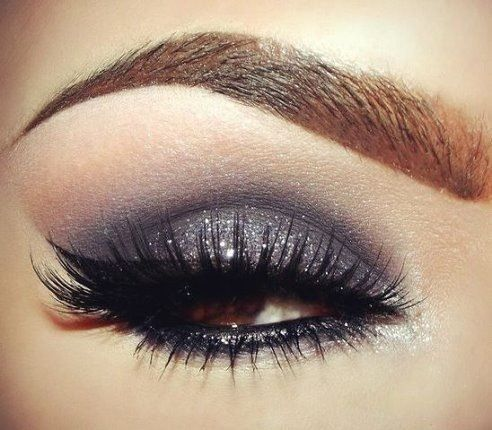 Silver and charcoal smoky eye