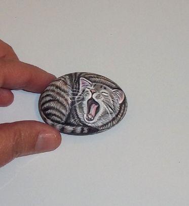 ▀▄▀ Original Painted Miniature Gray Brown Tabby Cat Rock Art Stone Pebble ▀▄▀ | eBay @Brandi St.Onge
