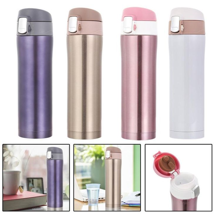 4 colors Stainless Steel Insulated Thermos Cup Coffee Mug with Lid Colored Travel Drink Bottle 450ml/ 500ml (Random Send)