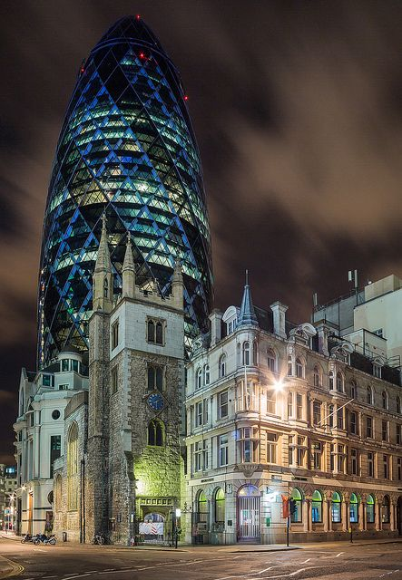 This old church stands in stark contrast to the modern architecture of the Gherkin, London. The juxtaposition is one of the many reasons we love London.