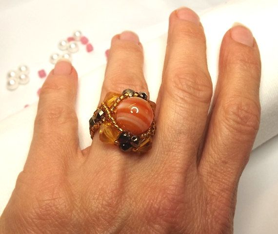 FREE SHIPPING Bead ring OOAK handmade perfect gift by Mamyblue, $35.00