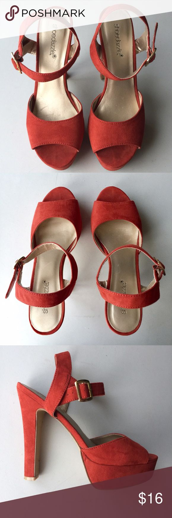 Shoe Dazzle red orange platform heels Gorgeous, strappy heels are a burnt orange color. Soft texture on the straps. They have some wear on the sole but are otherwise in great condition. Stylish, beautiful shoes! Shoe Dazzle Shoes Heels