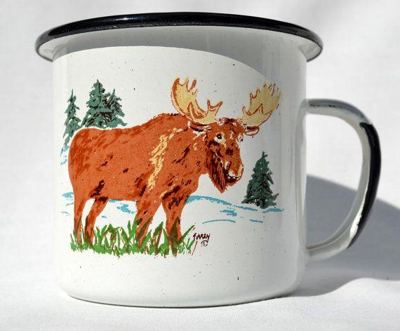 Vintage Metal Moose Mug Camping Cup  #metalcup #campingcup #coffee #moose #blackandwhite #mug #vintage
