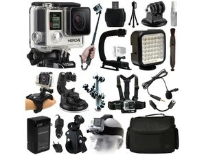 GoPro HERO4 Hero 4 Black Edition Action Camera Camcorder + Selfie Stick + Stabilizer + LED Video Light + Microphone + Chest ...
