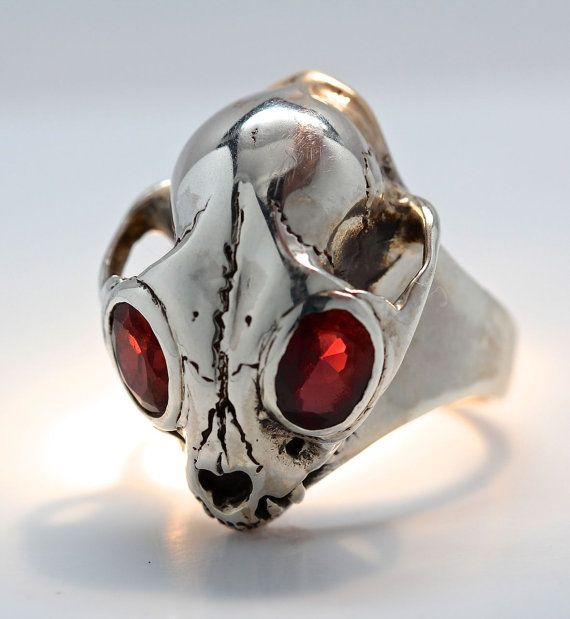 Gem Set Eyed Bobcat Wild Cat Skull Ring in Sterling by billyblue22, $300.00