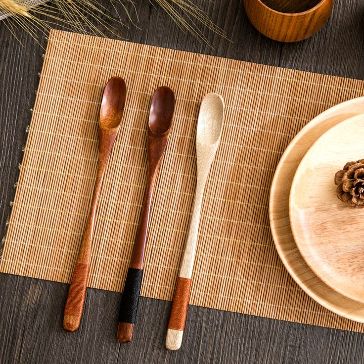 Tea spoon coffee and tea accessories mixing spoon wooden ladle long hanle spoon