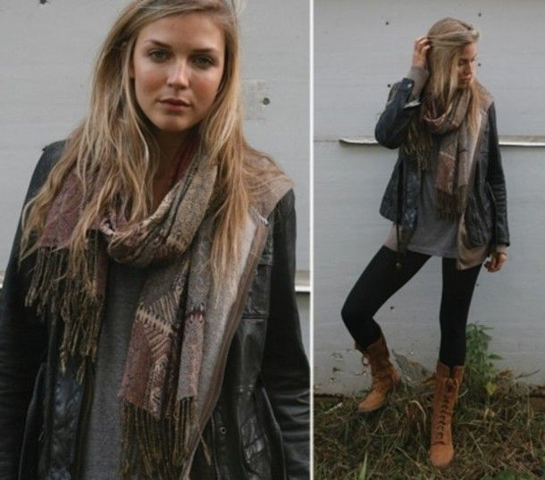 scarf fashion winter trendy outfit girl awesome stunning gorgeous boots leggings jacket boho