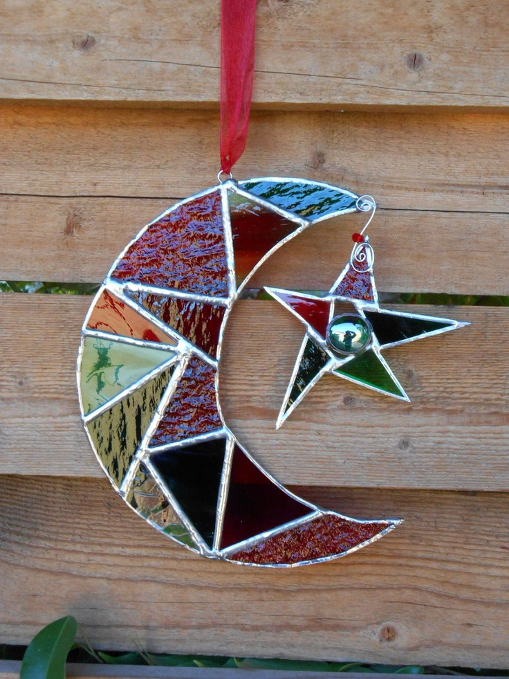 Stained Glass Moon with Star - Green - Red - Suncatcher