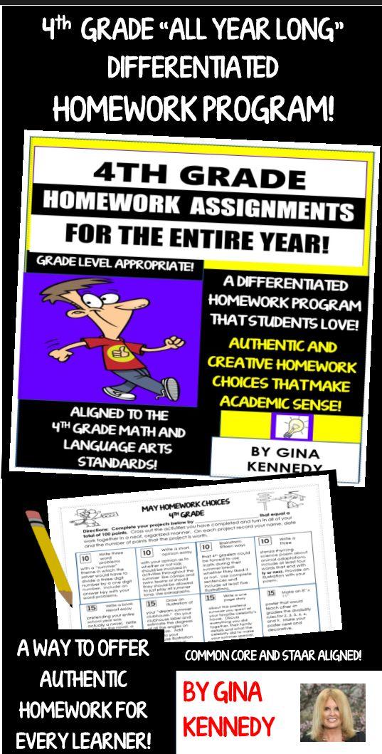 4th grade reading homework