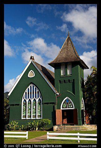 Green church of United Church of Chirst, Hanalei. Kauai island, Hawaii,