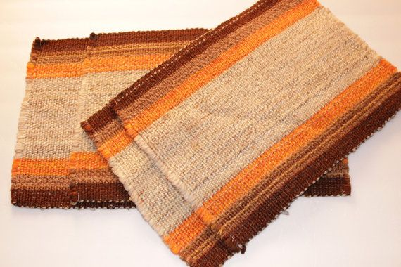 Vintage 1960s Mid-Century Retro Modern Placemats Orange and Brown Beige Yarn Weave Woven Placemats Set