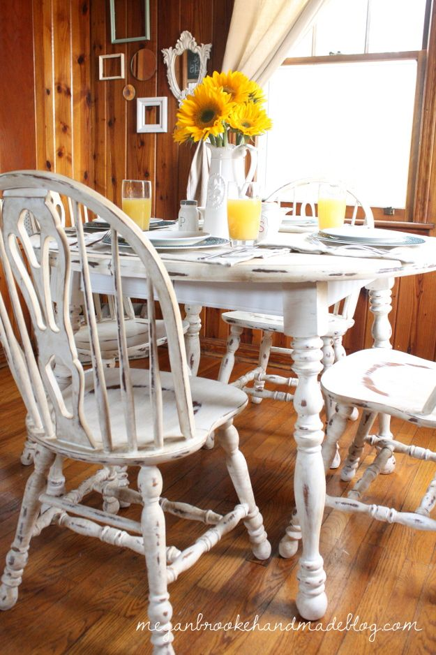 How to Revamp Your Old Kitchen Table {Using Chalk Paint}...... this is what I want to makr my table and chairs kook like
