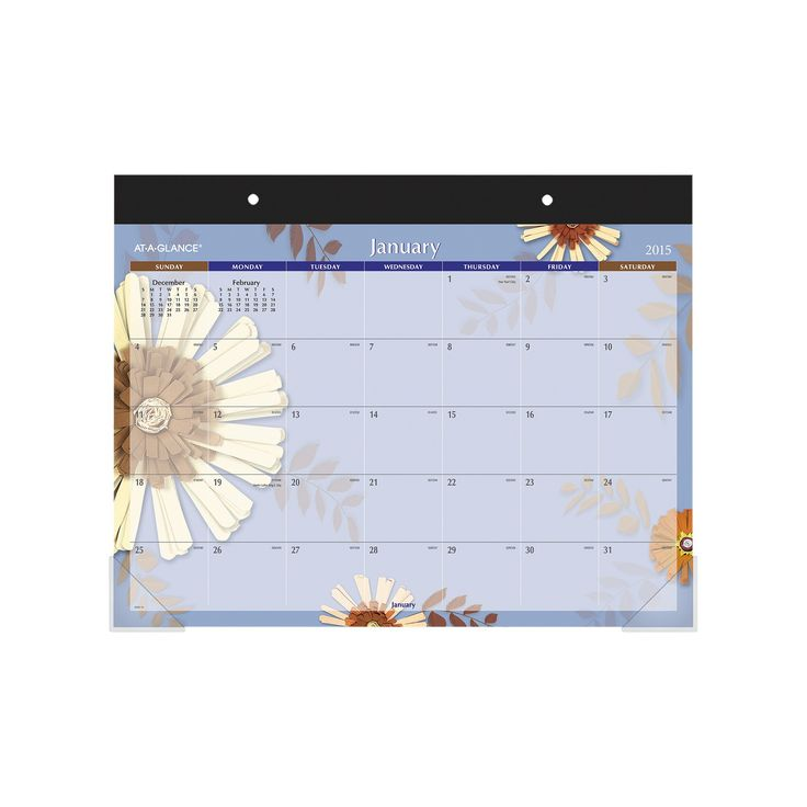 At A Glance Paper Flowers Desk Pad 22 X 17 2017
