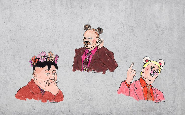 The Big Boys - Sticker set by akvileles on Etsy Trump, Putin, Kim Jong-un, Snapchat inspired liptick paintings are now available as stickers