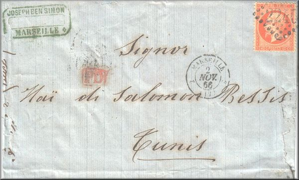 lettre ancienne avec un timbre Napoleon III : Marseille (France) --> Tunis (Tunisie) - 02/11/1866 (tarif postal etranger)