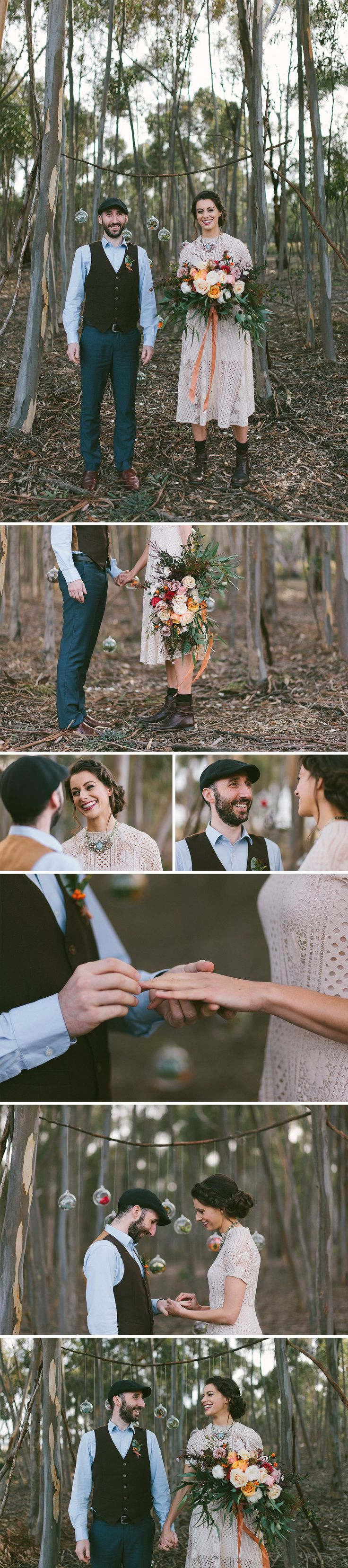 Relaxed bohemian wedding ceremony in the forest. Amazing Wedding bouquet + button holes in a relaxed and quirky wedding setting.