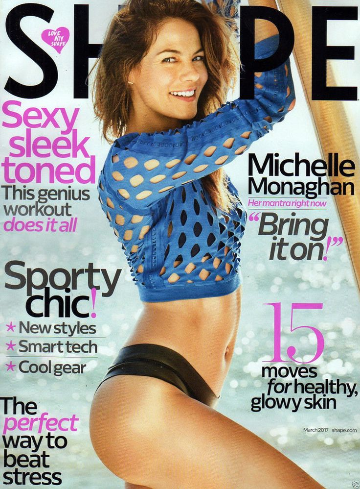 SHAPE MAGAZINE MARCH 2017 MICHELLE MONAGHAN SEXY SLEEK TONED GENIUS WORKOUT SKIN