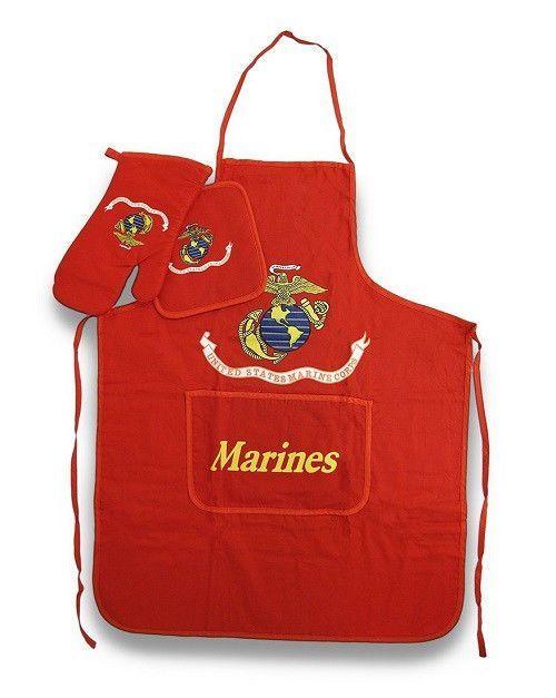 USMC Marine Corps Marines BBQ Barbeque Apron Set (Red) #ad