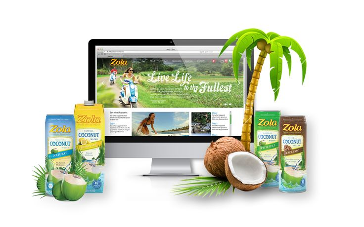 LiveZola.com Zola Coconut Water Website Design - Social Integration and Photoshop Tricks