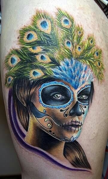 Day of the Dead peacock Tattoo
