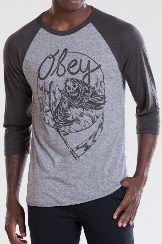Lake of Fire Vintage Raglan T-Shirt, Raglan and Long Sleeve T-Shirts - Obey Clothing UK Store - Obey Mens Clothing, Obey Womens Clothing, Obey T shirts and all things Shepard Fairey , Obey Propaganda and Obey Giant.
