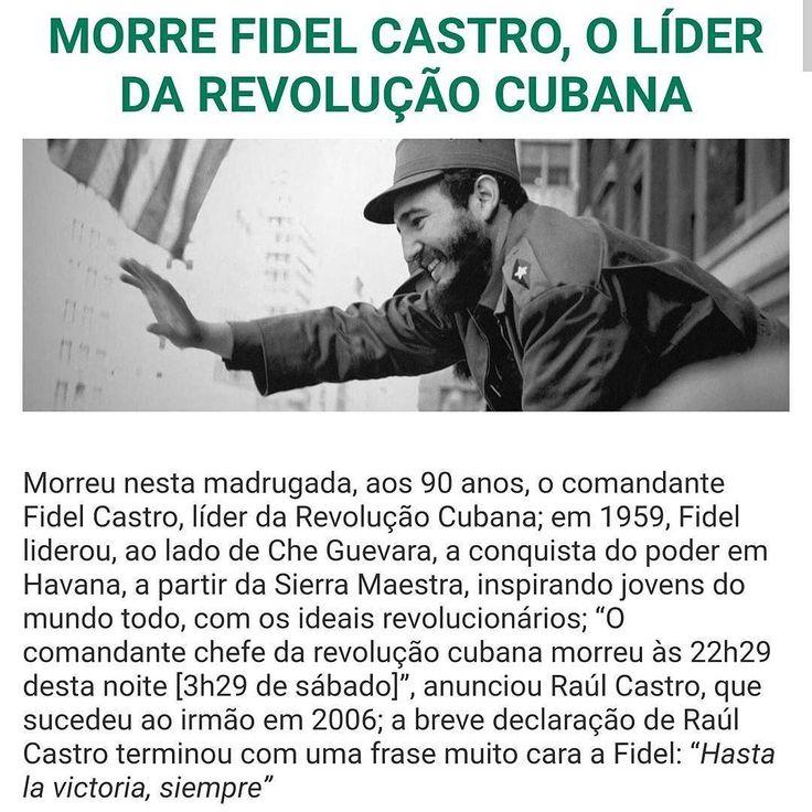 regram @verdades_quase_secretas Morreu nesta madrugada aos 90 anos o comandante Fidel Castro líder da Revolução Cubana.  Foi um dos mais carismáticos e polêmicos líderes políticos mundiais que em 1959 liderou ao lado de Che Guevara a conquista do poder em Havana a partir da Sierra Maestra inspirando jovens do mundo todo com os ideais revolucionários. O comandante chefe da revolução cubana morreu às 22h29 desta noite [de sexta-feira 3h29 de sábado] anunciou Raúl Castro que sucedeu ao irmão em…