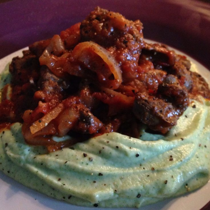 Chicken livers peri-peri and cauliflower-broccoli mash.