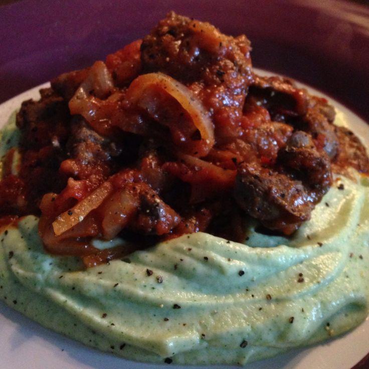 Chicken livers peri-peri and cauliflower-broccoli mash.