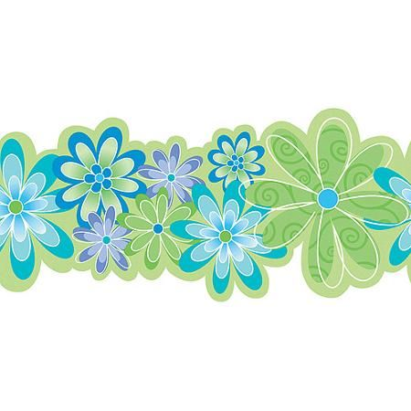 Blue Mountain Flower Power Wallpaper Border, Green/Blue