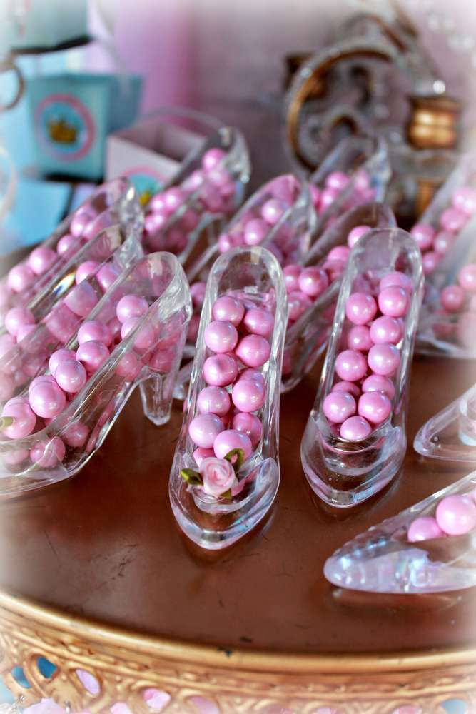 Glass slipper favors at a Cinderella birthday party! See more party ideas at CatchMyParty.com!