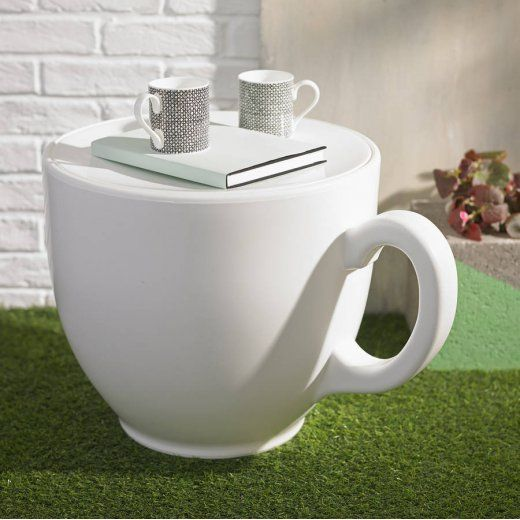 Holly Palmer Giant Tea Cup Stool / Side Table White