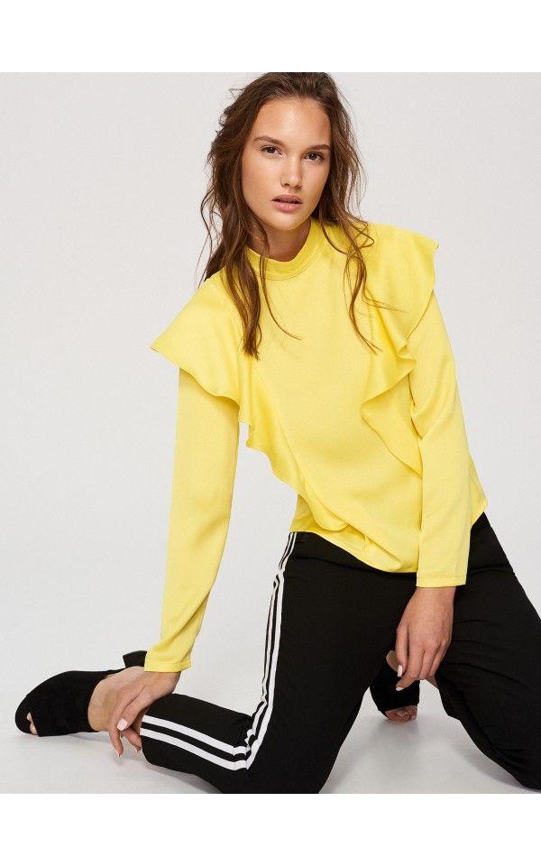 Bluză cu volănaș, Bluze, galben, RESERVED