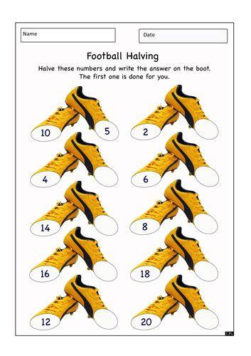 Worksheet Resource 13 1095 Football Themed Halving