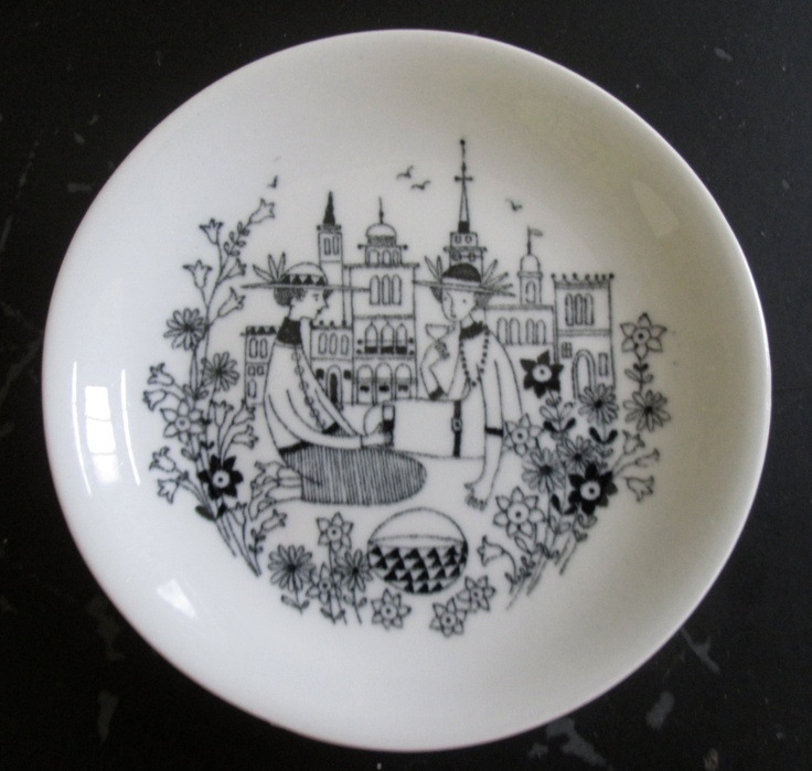Arabia Finland small display plate, Emilia series, mid-century Scandinavian collectible, 14. $28.00, via Etsy.