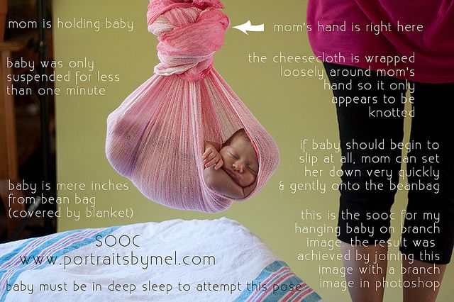 Melissa Sweatt - Hanging Baby - Behind the Scenes    How to achieve the hanging baby shots without placing baby in harms way.    This is the resulting image www.flickr.com/photos/grooveartphotography/6013171687/