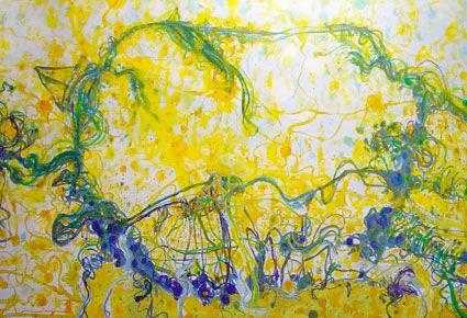 Summer at Campy 2007 © John Olsen oil on board 183 x 305cm