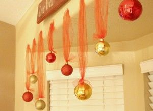 Christmas balls and tulle