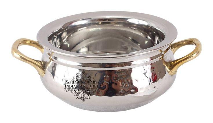 Steel Serving Handi with Brass Handle|Serving Dishes Briyani|Volume 460 ML