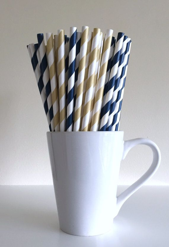 Paper Straws - Navy Blue and Light Gold Striped Party Straws Birthday Wedding Baby Shower Bridal Shower Notre Dame Saint Louis Rams by PuppyCatCrafts